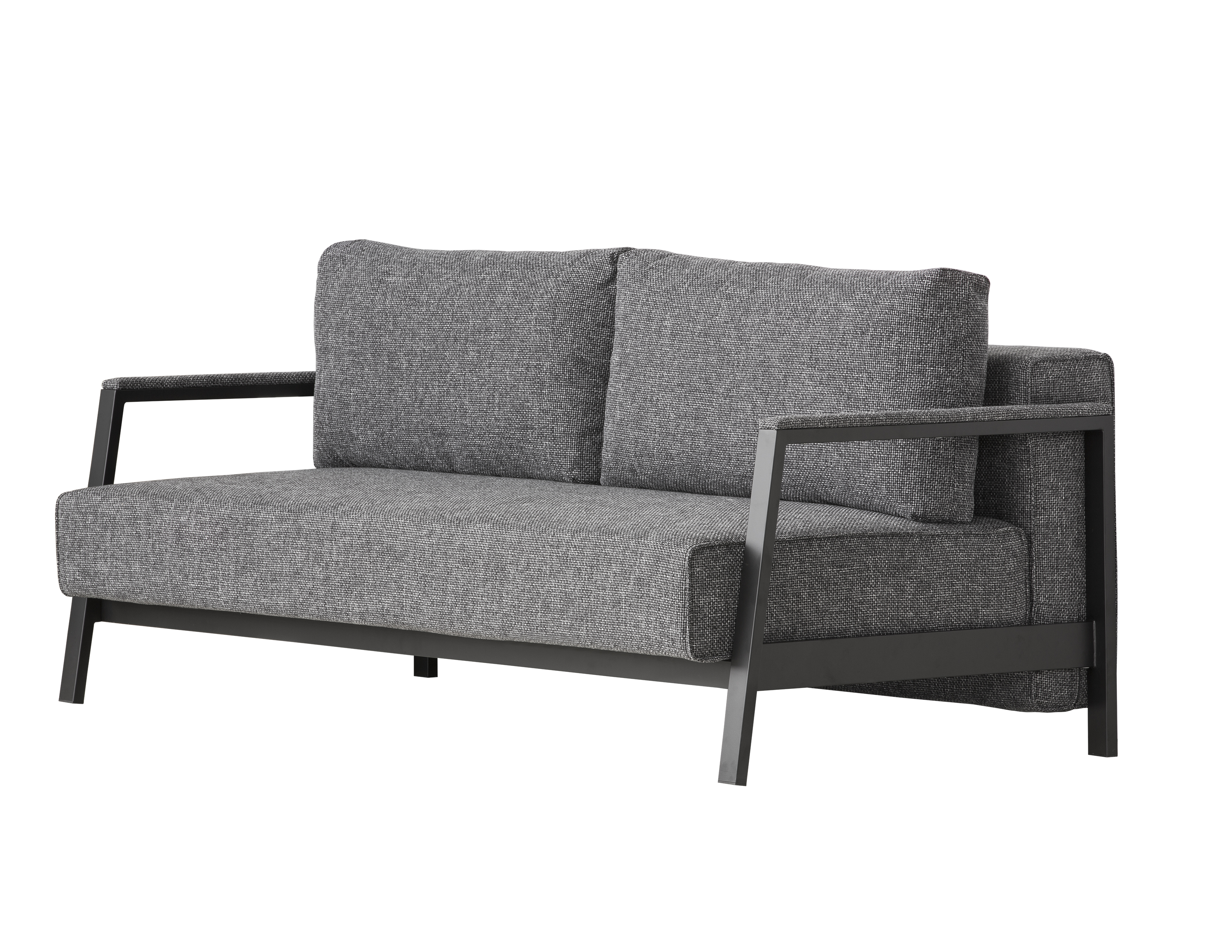 Davenport Double Sleeper Sofa Daybed Charcoal Weave With Black Powder Coated Steel