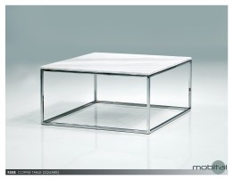 Kube 28″ Square Coffee Table White Volakas Marble with Polished Stainless Steel