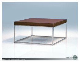 Kubo 30″ Square Coffee Table Natural Walnut with Stainless Steel