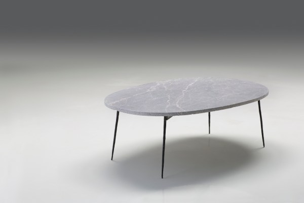 Tuk Tuk Large Coffee Table Grey Italian Marble with Black Powder Coated Steel