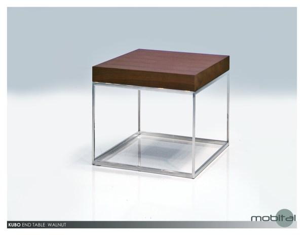 Kaii 16″ Medium End Table Grey Italian Marble with Black Iron Legs