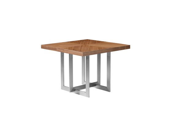 Quasar 20″ Low End Table Clear Glass with Ash Stained Light Walnut
