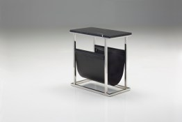 Cor Magazine Rack Black Marble Black Leather Magazine Sling with Polished Stainless Steel