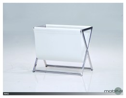 Mag Magazine Rack Black Leather Sling with Polished Stainless Steel