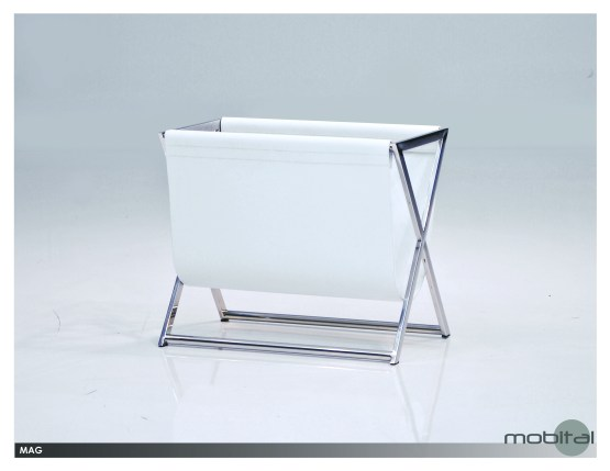 Mag Magazine Rack White Leather Sling with Polished Stainless Steel