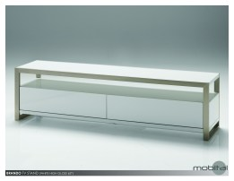 Brando 63x16x18 TV Stand High Gloss Black and Natural Walnut Veneers with Polished Stainless Steel