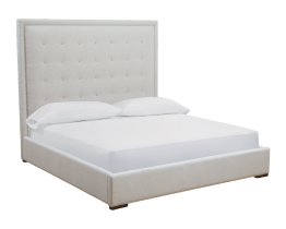 JACKIE BED – QUEEN – SILVER LINEN FABRIC