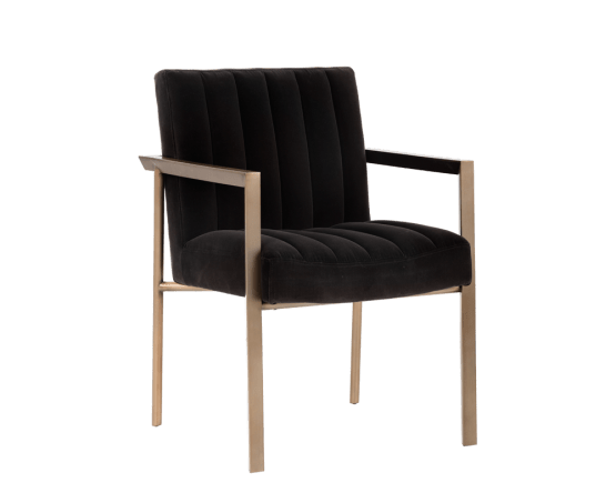 WHILHELMINA ARMCHAIR – ANTIQUE BRASS –  GIOTTO SHALE GREY FABRIC