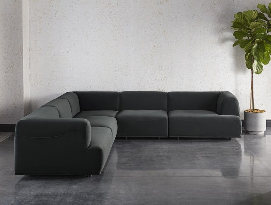 DARREN SECTIONAL SET – SMOKESCREEN GREY FABRIC