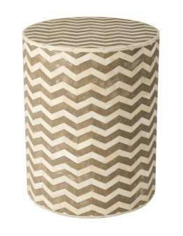 5th Avenue Round Side Table – Bone Inlay / Chevron