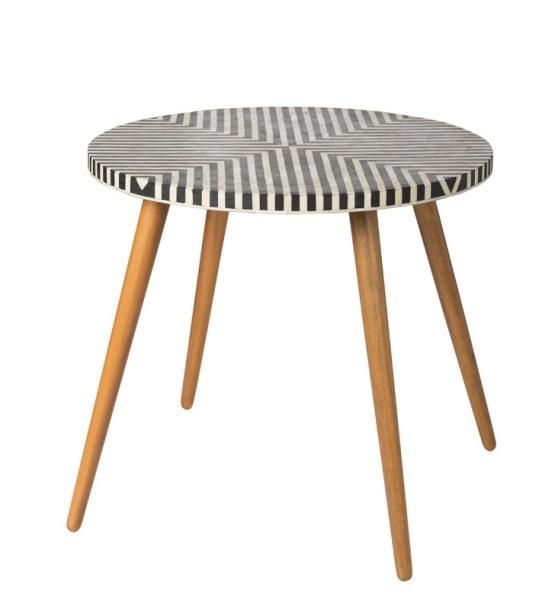 5th Avenue Round Bistro Table – Bone Inlay W/ Black Resin