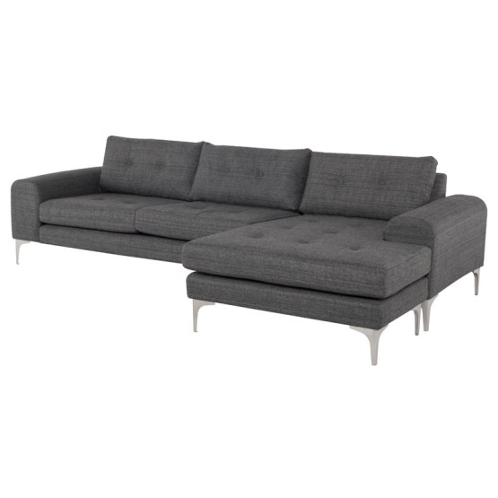 COLYN SECTIONAL DARK GREY TWEED