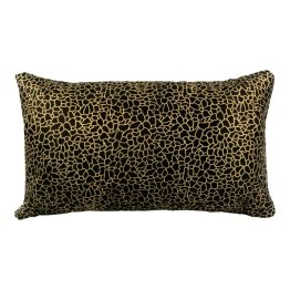 Daisy Rectangular Pillow Black And Gold