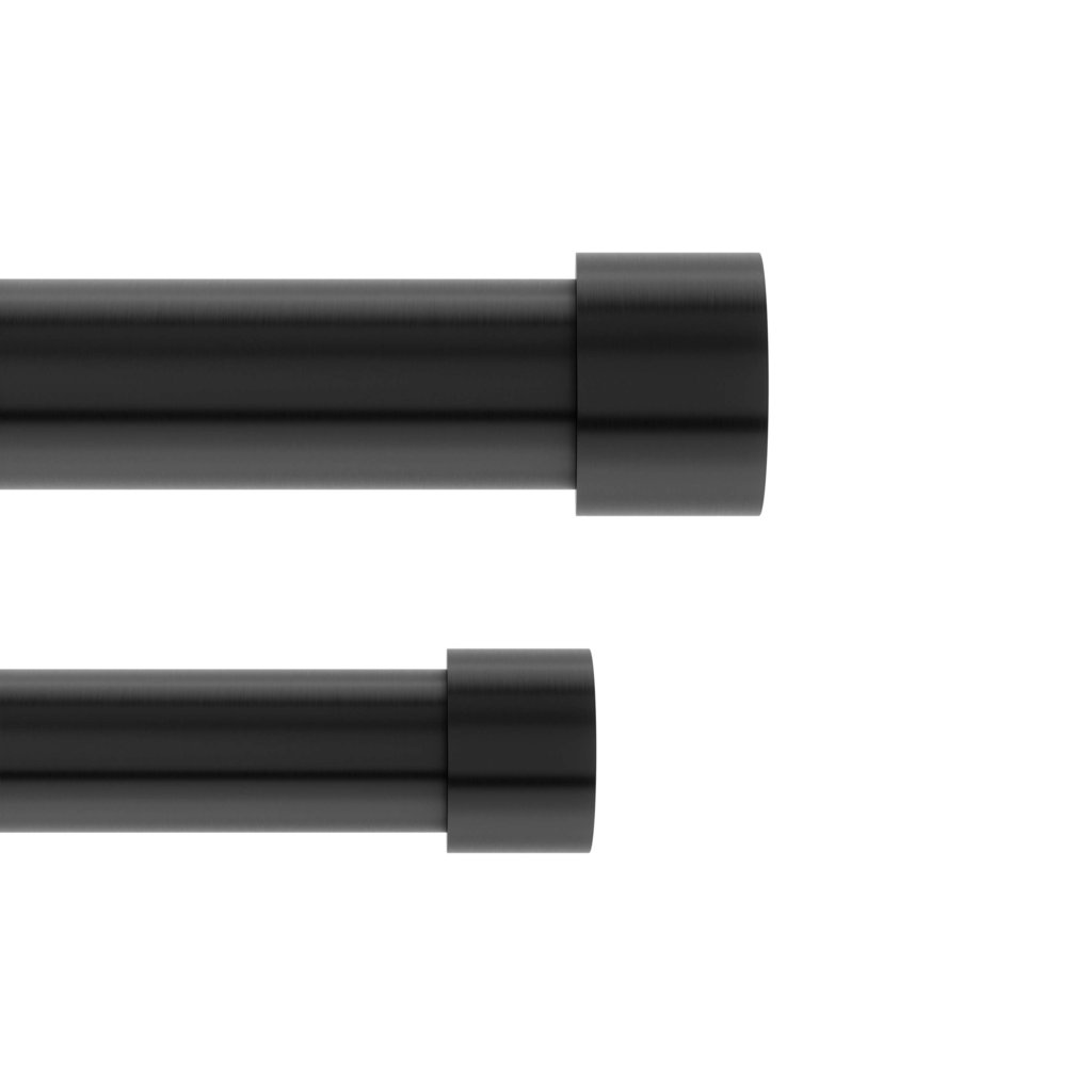 cappa double curtain rod brushed black 36 66 91 168cm