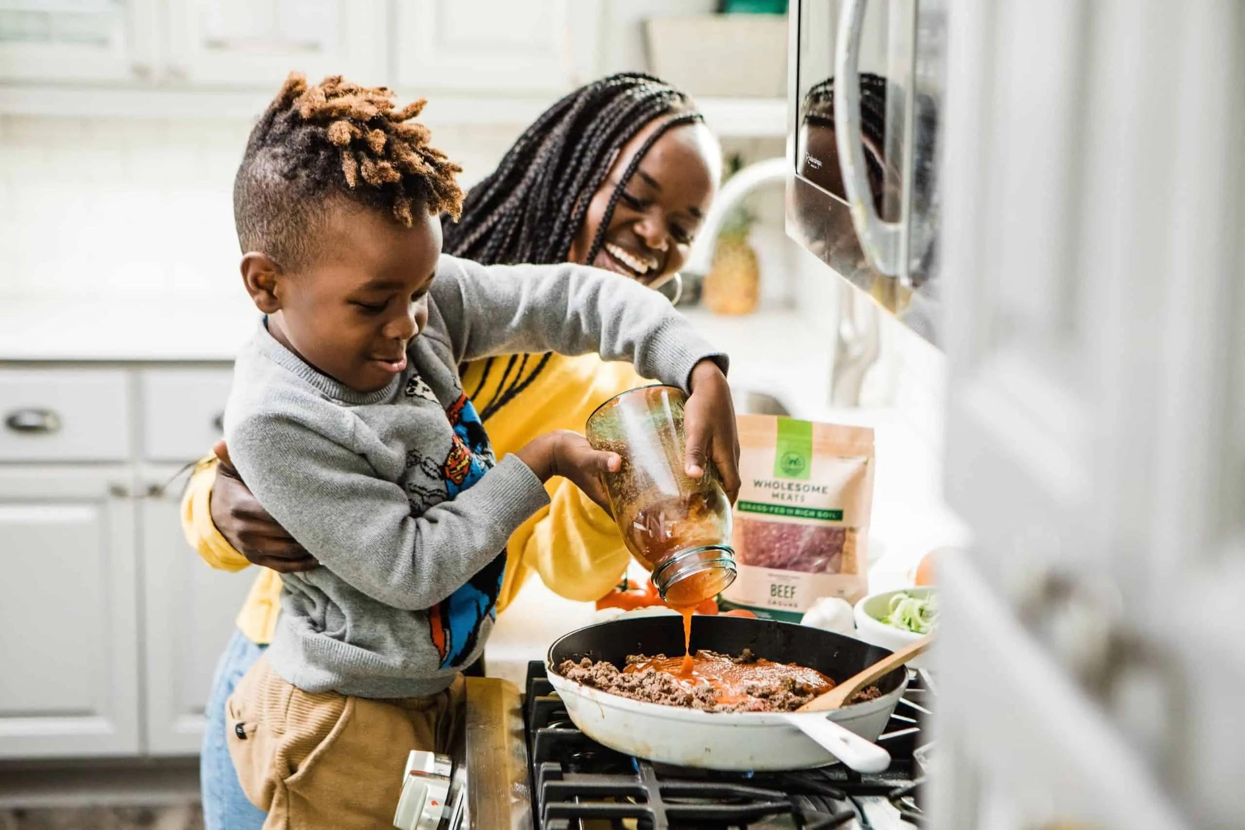 Preschooler cooking at home