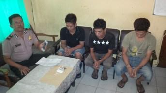 Ketiga tersangka yang diamankan Satreskrim KSKP Polres Tarakan saat hendak melakukan transaksi Narkoba di Pelabuhan Malundung.