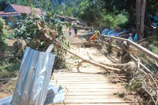 Kondisi pasca banjir bandang di Desa Tanjung Lokang, Kapuas Hulu, Kalimantan Barat.