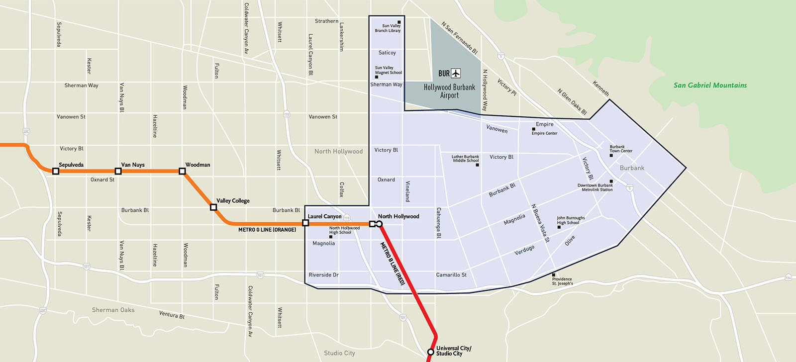 Metro Micro North Hollywood/Burbank Service Zone Map