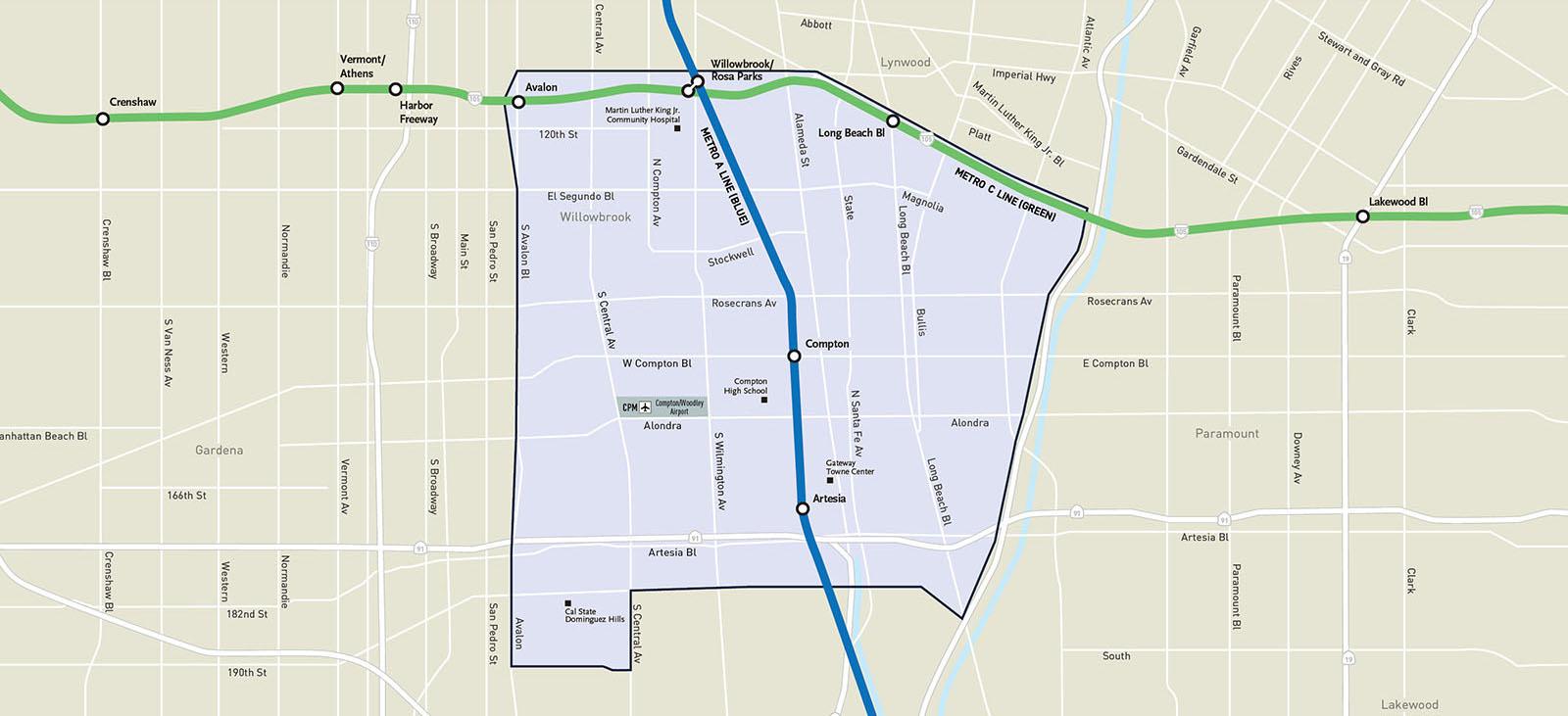 Metro Micro Compton/Artesia Service Zone Map