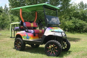Custom Painted Margaritaville inspired Golf Cart with custom seats, wheels, roof and sound system