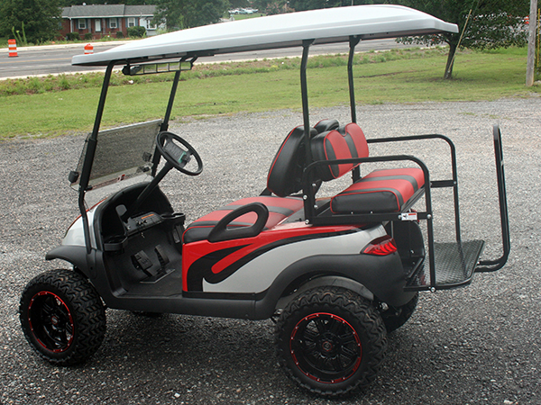 Custom Red with Black and Silver E-Z-GO Golf Cart All Terrain side and rear view