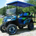 lime green and blue custom golf cart