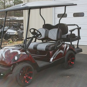 Custom Painted Burgundy Silver and Black Yamaha Used Golf Cart