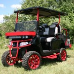 E-Z-GO RXV - Black and red golf cart with brush guard