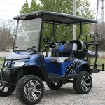 E-Z-GO RXV - Dark blue with black flames golf cart
