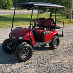 E-Z-GO RXV - Red Golf Cart with Red and Black Diamond-Stitched Elite Seats