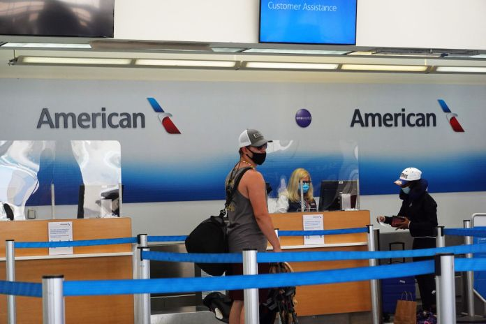 A photo of American Airlines passengers