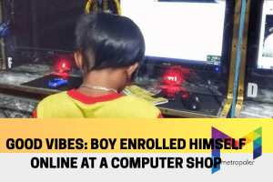 Good vibes: This boy enrolled himself online at a computer shop