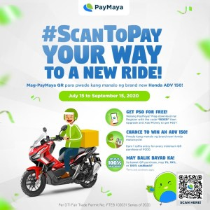 Delivery riders can #ScanToPay for safer and more rewarding transactions with PayMaya