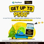 Get up to P500 cashback when you claim your Western Union remittance via PayMaya for the first time