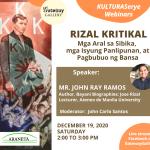 Araneta City and Gateway Gallery's KulturaSerye Returns with a Webinar on Rizal