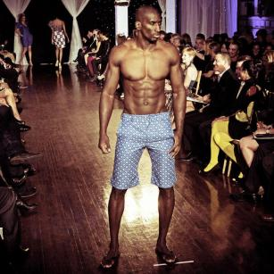 Design by Studio Alade shown at Next Fashion 2012 runway show at Germania Place during Fashion Focus Week Chicago. Model Sesamir Yearby.