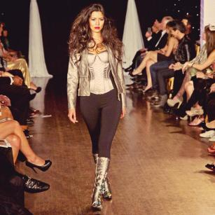 Boots by Just Juman shown at Next Fashion 2012 runway show at Germania Place during Fashion Focus Week Chicago. Model Laura Silva.