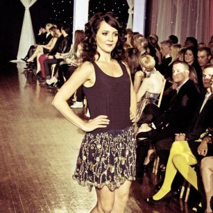 Design by Sahar Dada shown at Next Fashion 2012 runway show at Germania Place during Fashion Focus Week Chicago. Model Beba Georgieva.