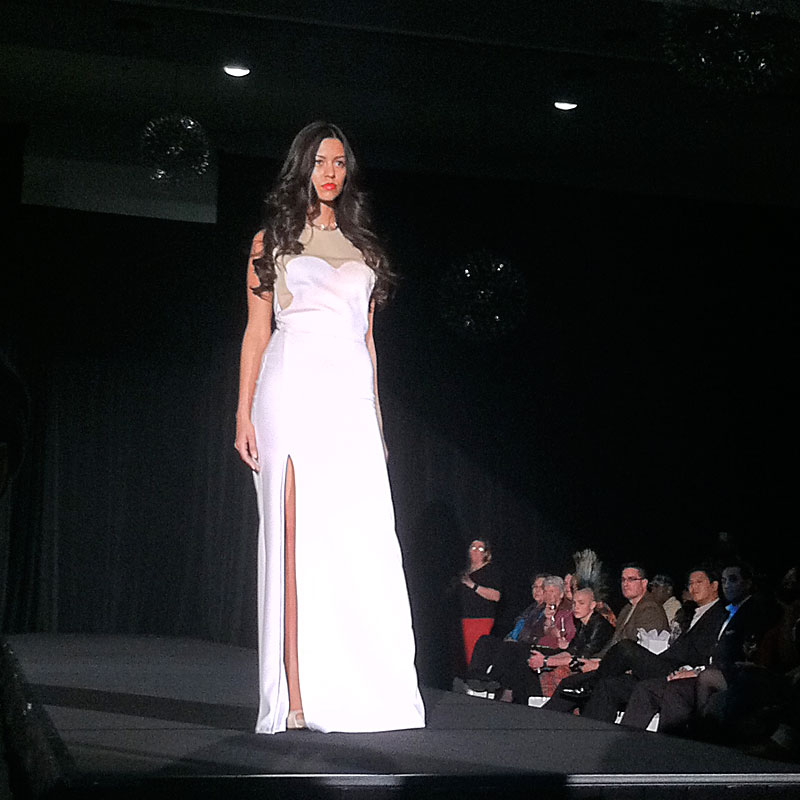 Fashion Focus Week Queen of Hearts runway show. Design by Anna Fong. Model Laura Silva