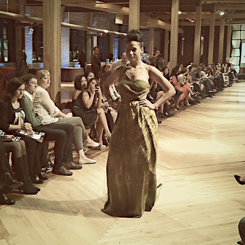 Garment designed by Anna Hovet using Maisha Collective scarfs presented at the Heshima Kenya Fashion Challenge Inspired by Project Runway.