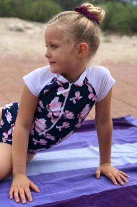 navy orchid surf suit girls one piece snapper rock