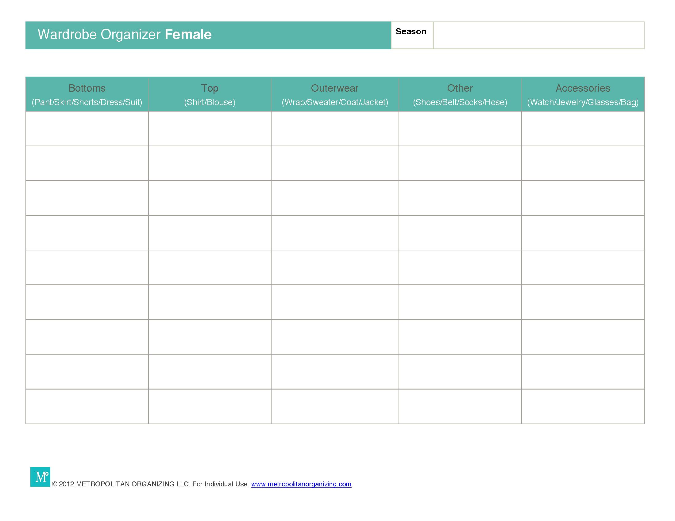 Capsule Wardrobe Planning Worksheets Essential Wardrobe Tools