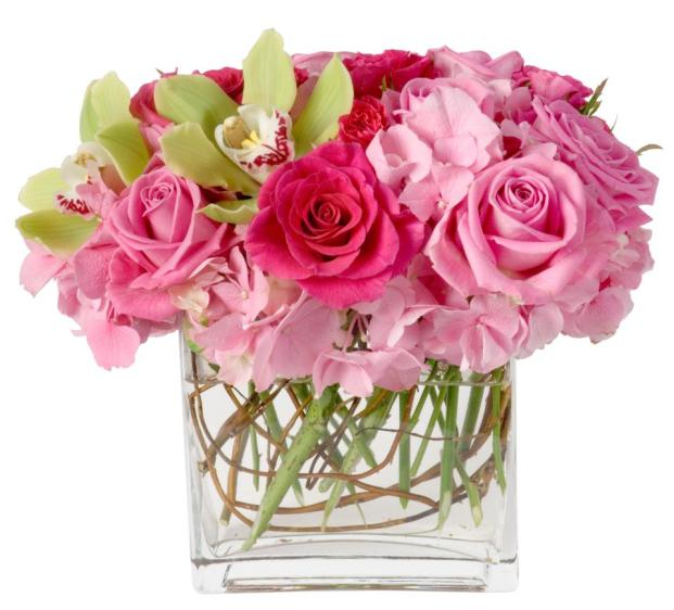 Pink Roses and Green Cymbidium In Cube Glass