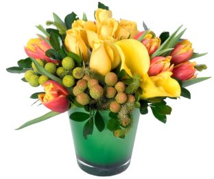 Tulips Roses Callas In Green Container