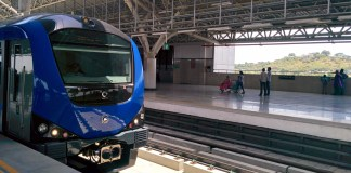 Metro Train Standing at Chennai Central Metro Station