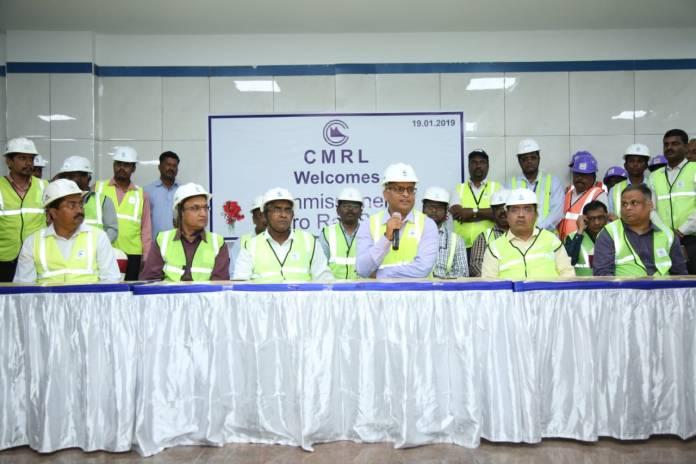 The Commissioner of Metro Railways Safety, Shri K.A. Manoharan, CRS/S. Circle, Bangalore along with his team Inspect AG-DMS to Washermanpet on 19-01-2019 and 20-01-2019.