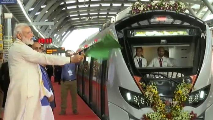 PM Narendra Modi Flags off Ahmadabad Metro Rail Project on March 4, 2019.