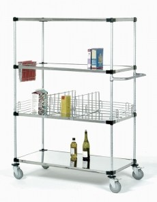 Solid Shelf Stem Caster Carts
