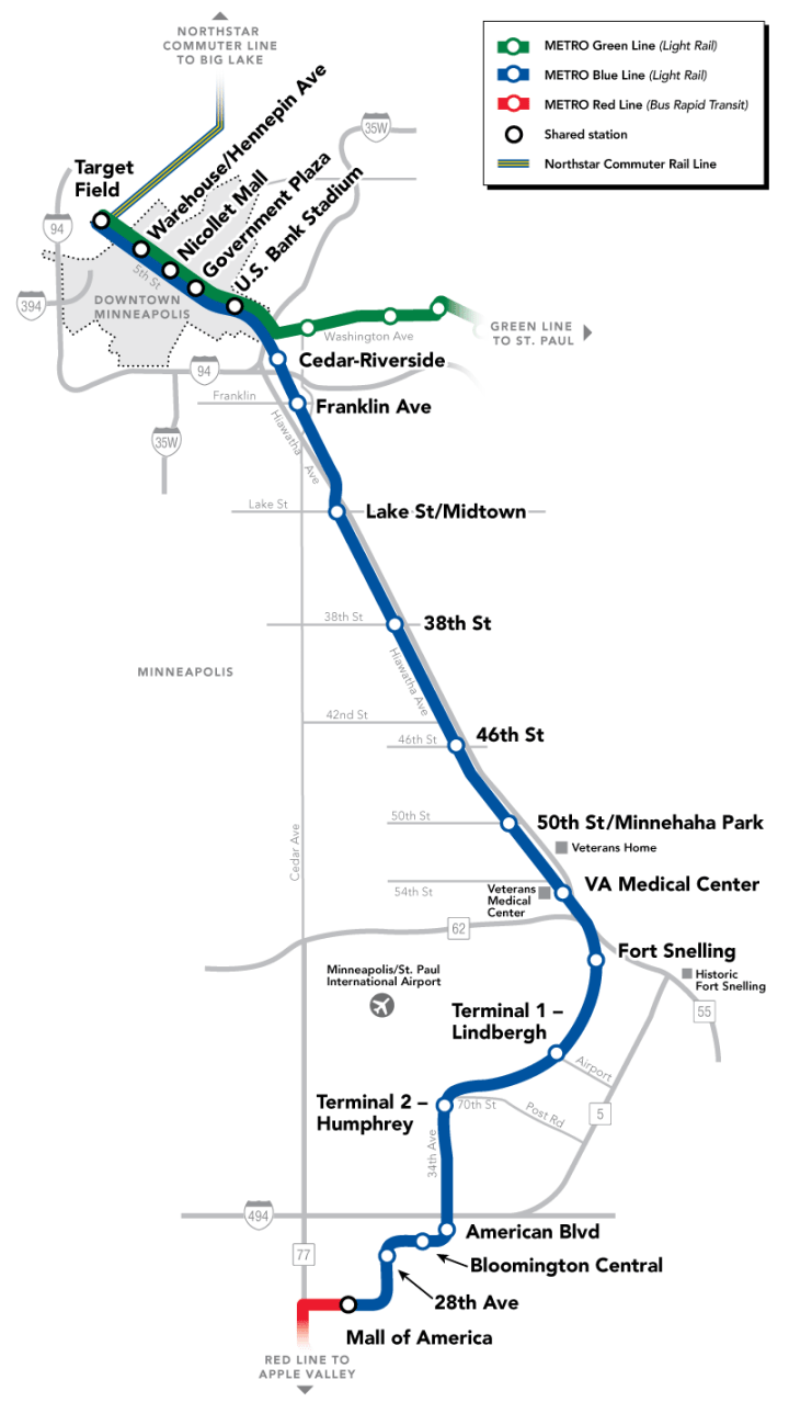 twin cities light rail map