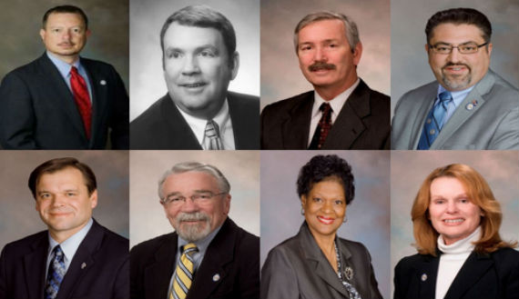 Members of the House Committee on General Laws, Subcommittee 4: (From top left to bottom right) Delegates Nick Rush (R-Christiansburg), Tommy Wright (R-Victoria), Barry Knight (R-Virginia Beach), David Ramadan (R-South Riding), Keith Hodges (R-Urbanna), Dickie Bell (R-Staunton), Delores McQuinn (D-Richmond), and Kaye Kory (D-Falls Church).